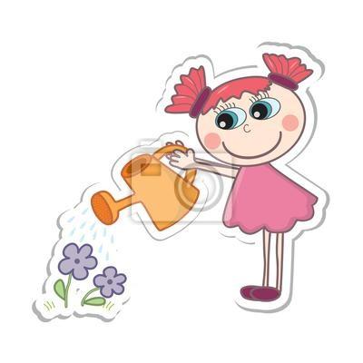 Ein Kleiner Cartoon Madchen Blumen Giessen Vektor Illustration