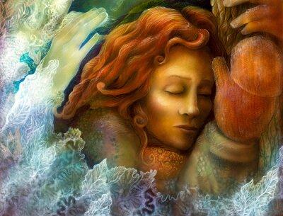 Bild Ein Leiter eines Träumen der Fee Frau mit roten Haaren und Winterhandschuhen