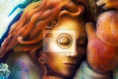 Ein Leiter eines Träumen der Fee Frau mit roten Haaren und Winterhandschuhen