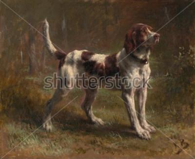 Bild Ein LIMIER BRIQUET HOUND von Rosa Bonheur, 1856, französische Malerei, Öl auf Leinwand. Dies war ein Porträt des Hundes des Vicomte d'Armaille. Bonheur war ein Meister der Tiermalerei und der beka