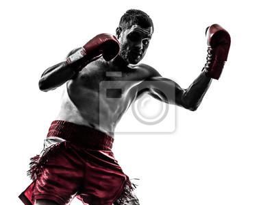 Bild ein Mann, die Ausübung Thaiboxen Silhouette