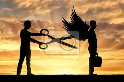 Bild Ein Mann mit einer großen Schere in den Händen will die Flügel des Mannes vor ihm abschneiden