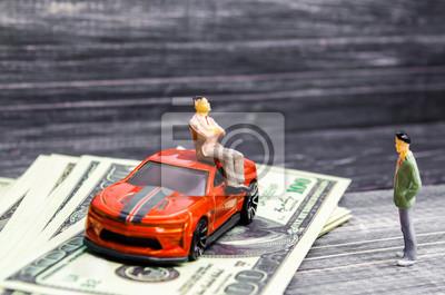 Bild ein Mann prahlt mit seinem Reichtum und seiner Position vor einer anderen Person. ein neues Auto kaufen. soziale Klassenungleichheit, eine Person hat ein Auto gewonnen, ein Typ ist eifersüchtig auf de