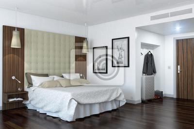 Ein modernes hotelzimmer - schlafzimmer leinwandbilder • bilder ...