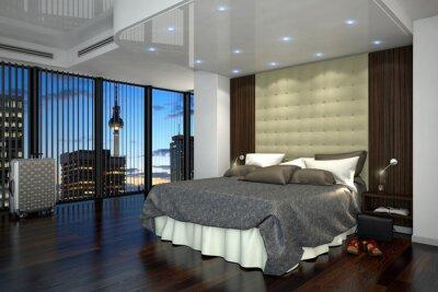 Ein modernes hotelzimmer, suite mit kingsize bett in berlin ...