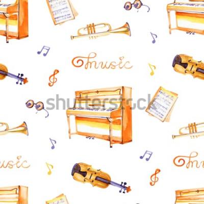 Bild Ein nahtloses Muster mit Hand gezeichneten Musikinstrumenten auf einer Aquarellhintergrundbeschaffenheit.