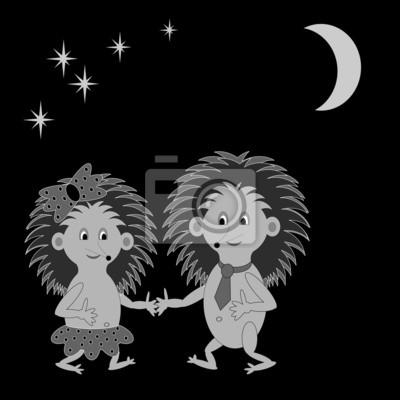 Ein paar lustigen Comic-Igel aus in der Nacht
