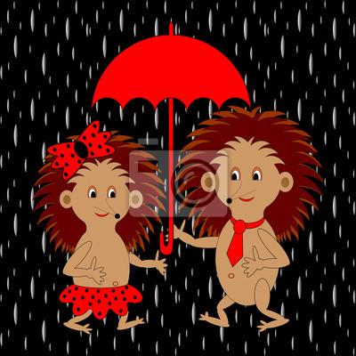 Ein paar lustigen Comic-Igel unter rotem Regenschirm in der ra