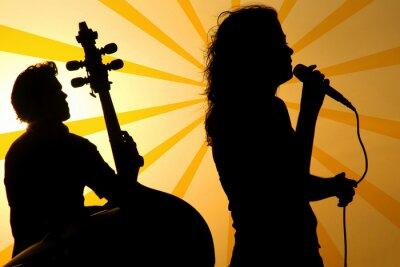 Bild ein Sänger und ein Stand-up-Unterlage Silhouette