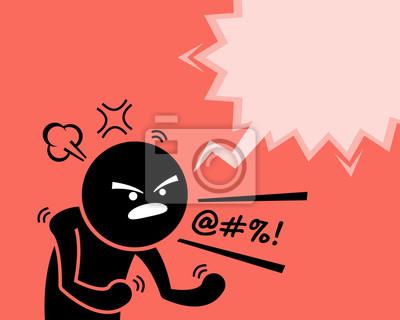 Bild Ein sehr wütender Mann, der seinen Zorn, seine Wut und seine Unzufriedenheit ausdrückt, indem er fragt, warum. Er flüstert und schwört etwas oder jemanden, indem er laut schreit und laut schreit. Er i