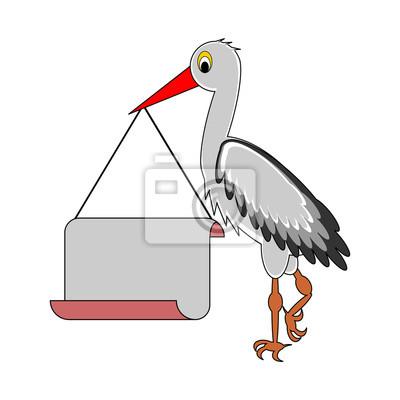 Ein Storch hält ein großes leeres Papier in seinem Schnabel