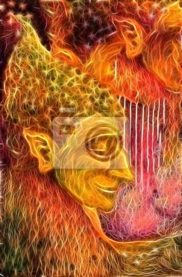 Ein weiser grüne Fee Mann Profil, schöne Phantasie bunten Farben