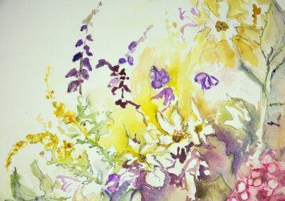 Bild Eindruck einer Mischung aus wilden Blumen. Die dabbing-Technik in der Nähe der Kanten ergibt einen Weichfokus-Effekt aufgrund der veränderten Oberflächenrauhigkeit des Papiers.