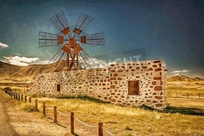 Bild Eindruck einer Windmühle auf Fuerteventura, Kanarische Inseln, Spanien