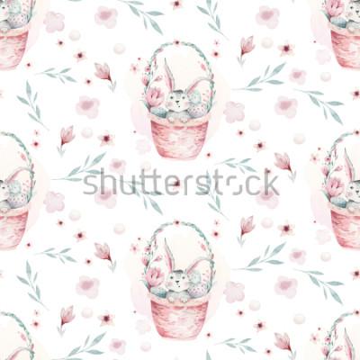 Bild Eine Aquarellfrühlingsillustration des niedlichen Ostern-Babyhäschens. Nahtloses Muster der Kaninchenkarikatur mit Korb