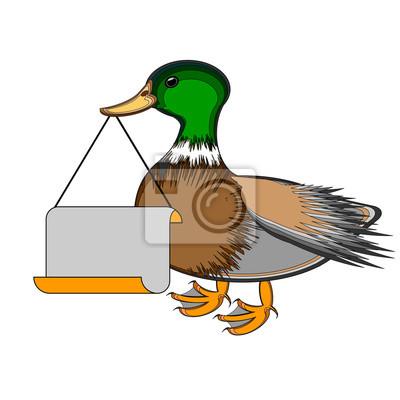 Eine Ente, die eine große leere Papier in seinem Schnabel