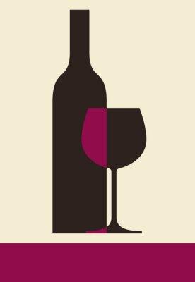 Bild Eine Flasche Wein und Glas. Weinkarte Design