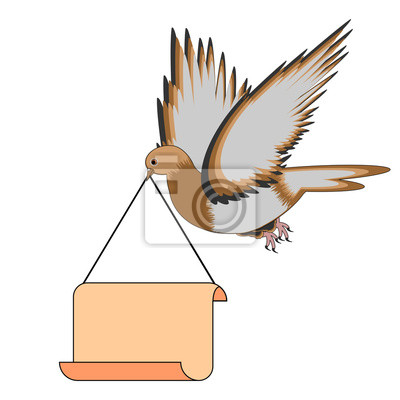 Eine fliegende Taube, die eine große leere Papier in seinem Schnabel