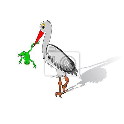 Eine Karikatur Storch, der einen Frosch im Schnabel