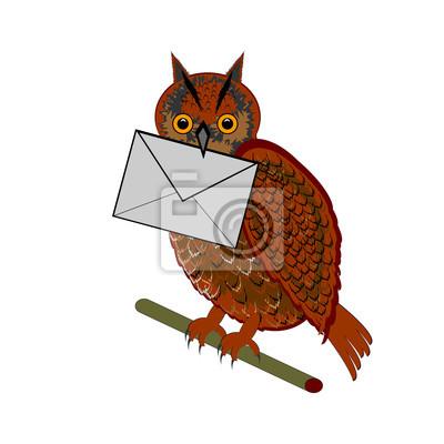 Eine lustige Eule mit einem Brief im Schnabel