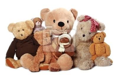eine Menge Teddybär isoliert auf weißem Hintergrund