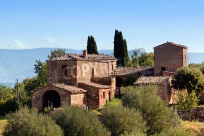 Bild Eine Residenz in der Toskana, Italien. Typisch für die Region toskanisches Bauernhaus, Hügel, Zypressen. Italien