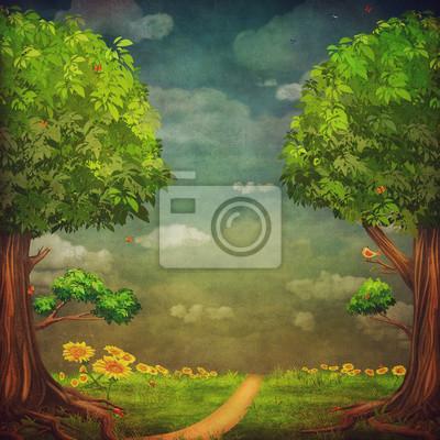 Eine schöne Waldszene mit Bäumen und Himmel