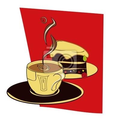 Eine Tasse Kaffee mit Kuchen