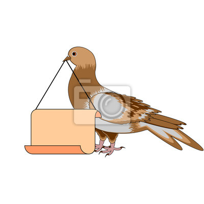 Eine Taube, die eine große leere Papier in seinem Schnabel