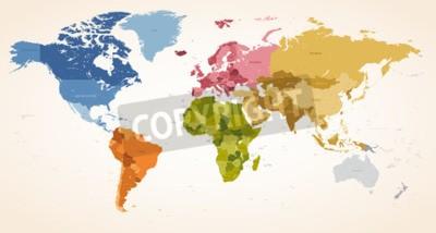Bild Eine Vintage Farben High Detail Vektor Karte Abbildung der ganzen Weltkarte.
