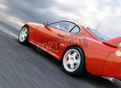Bild Einen roten Sportwagen Speeding auf Blurry Asphaltstraße. 3D übertragen