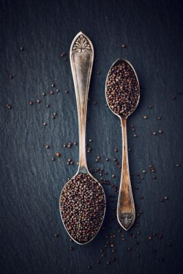 Bild Einfache Stilleben mit schwarzen Senfkörner