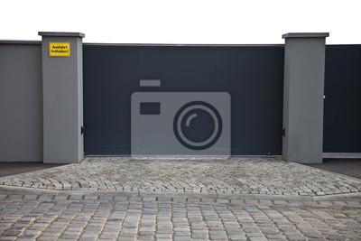 Einfahrt Mit Zaun Tor Leinwandbilder Bilder Eintrag Alarm