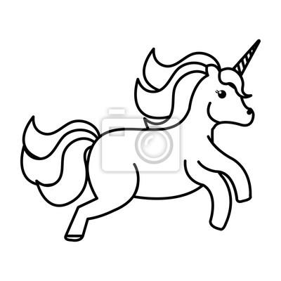 Einhorn Tier Horn Symbol Vektor Illustration Design Zeichnen