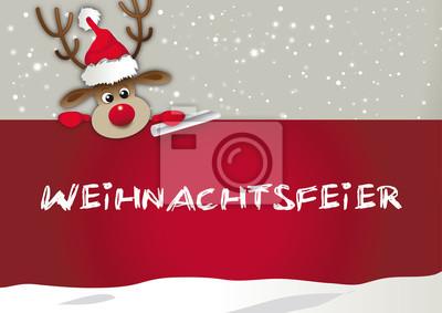 Einladung Zur Weihnachtsfeier.Bild Einladung Zur Weihnachtsfeier Rentier Mit Weihnachtsmutze