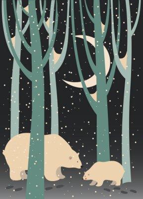 Bild Eisbär und Junges im Wald