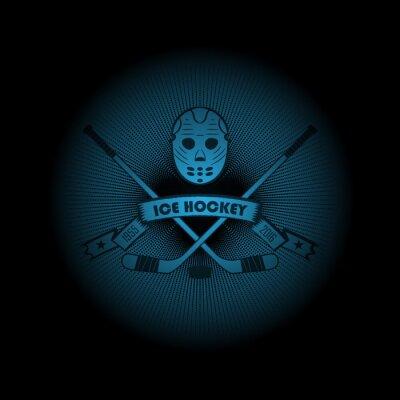 Bild Eishockey! Sport-Logo. Das Emblem erscheint aus der Dunkelheit. Vervollkommnen Sie auf Ihrem schwarzen Hemd! Vektor