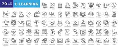 Bild Electronic learning icons Pack. Thin line icons set. Distance learning collection set. Simple vector icons