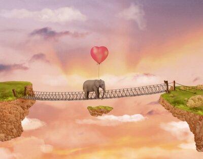 Bild Elefant auf einer Brücke in den Himmel mit Ballon. Illustration