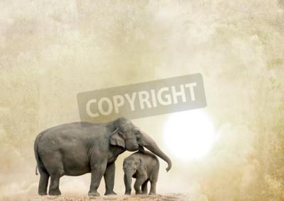 Bild Elefanten auf einem Grunge-Hintergrund