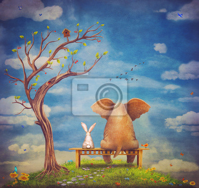Elefanten und Kaninchen sitzen auf einer Bank auf der Lichtung