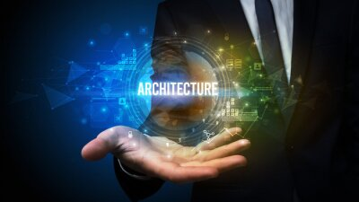 Elegant hand holding ARCHITECTURE inscription, digital technology concept