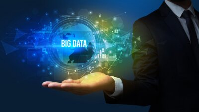 Elegant hand holding BIG DATA inscription, digital technology concept