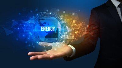 Elegant hand holding ENERGY inscription, digital technology concept