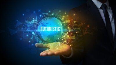 Elegant hand holding FUTURISTIC inscription, digital technology concept