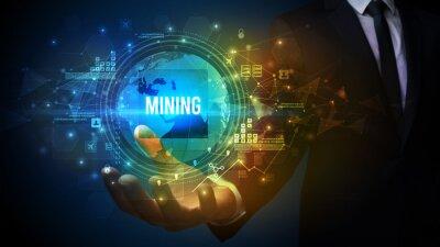Elegant hand holding MINING inscription, digital technology concept