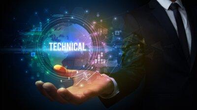 Elegant hand holding TECHNICAL inscription, digital technology concept