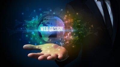 Elegant hand holding WEB DESIGN inscription, digital technology concept