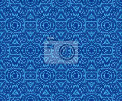 Elegant patterned fabric indigo dyed ikat seamless pattern.