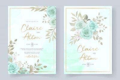 Bild Elegant wedding invitation template with turquoise color floral ornament